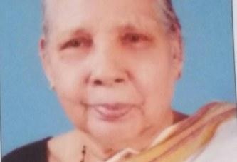 തെക്കേടത്ത് കളരിക്കൽ ബാലകൃഷ്ണകുറുപ്പ് ഭാര്യ തങ്കമ്മ (86) നിര്യാതയായി,